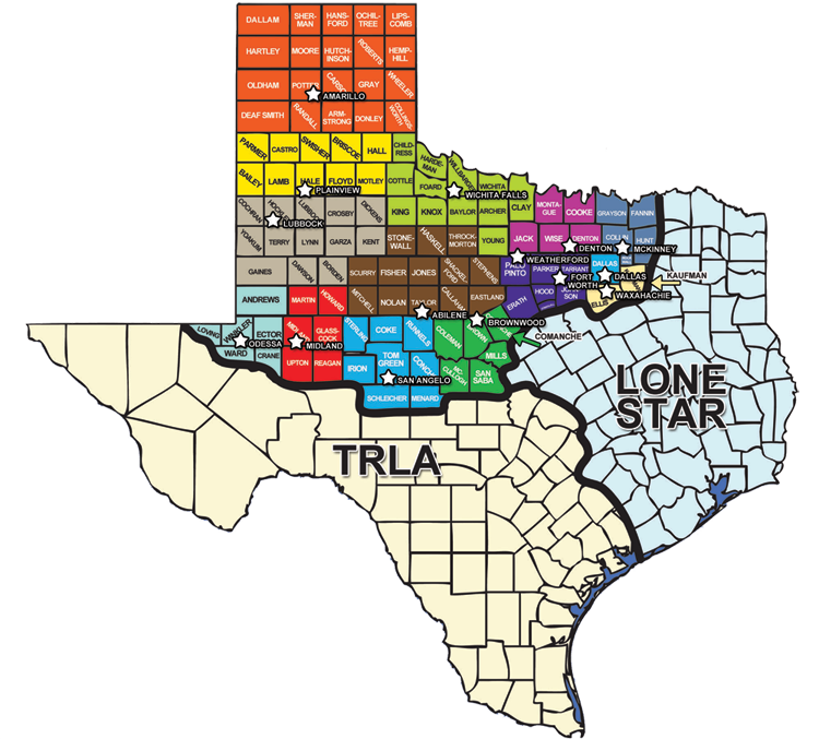 Map Of Northwest Texas.Service Area