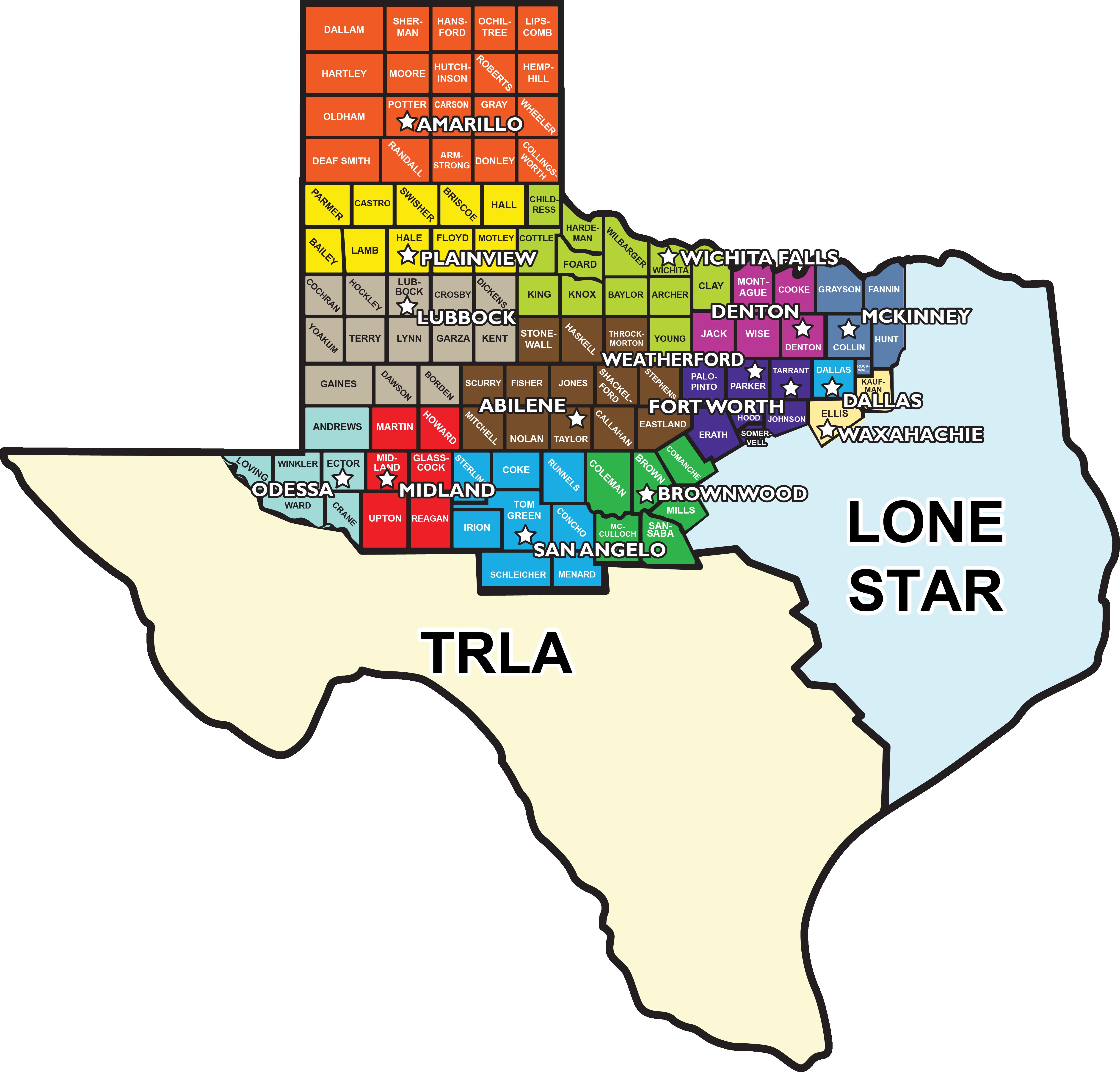 Northwest Texas Map Service Area
